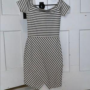 blacked striped dress